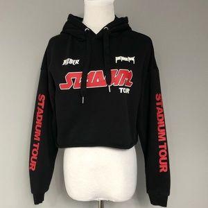 *H&M* Justin Bieber black cropped hoodie
